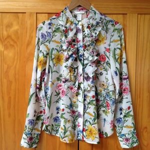 H & M | Floral Button Down Ruffle Front Blouse